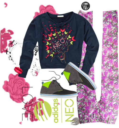 Keep Calm and Love Neo by omgitsferucha featuring sweat shirtsSweat shirt / NEO FLORAL SKINNY (F) / Leather shoes / by Don Carney 20x200 / Grunge Urban Peace Sign Sketch Sticker