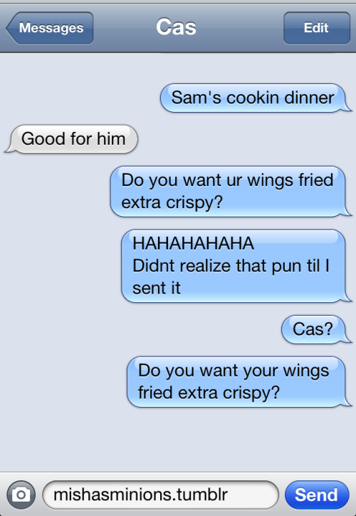 the-changlorious-bastards:  get-in-my-tardis:   TEXTS FROM CAS   well that escalated quickly