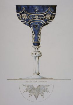 English designer and glassmaker Frederick Carder was born on this day in 1863. Carder moved to Corning, NY in 1903 to help found Steuben Glass, where he designed tableware and architectural glass for both Steuben and other firms. According to legend, Carder was particular about his designs, not allowing deviations to his work and specifying which gaffers he wanted to work on his projects. Blue Cut to Clear Design for a Champagne, Frederick Carder (designer), George Watts & Sons (manufacturer), Corning, NY, 1934. Frederick Carder papers. CMGL 100113.