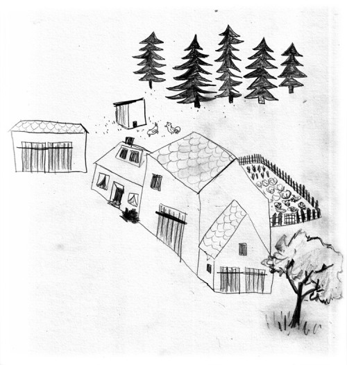 Another lazy pencil-drawing about my grandmas village,