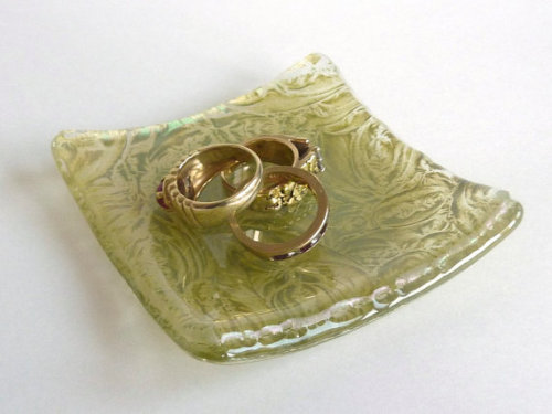 Small Glass Ring Dish in Antique Green