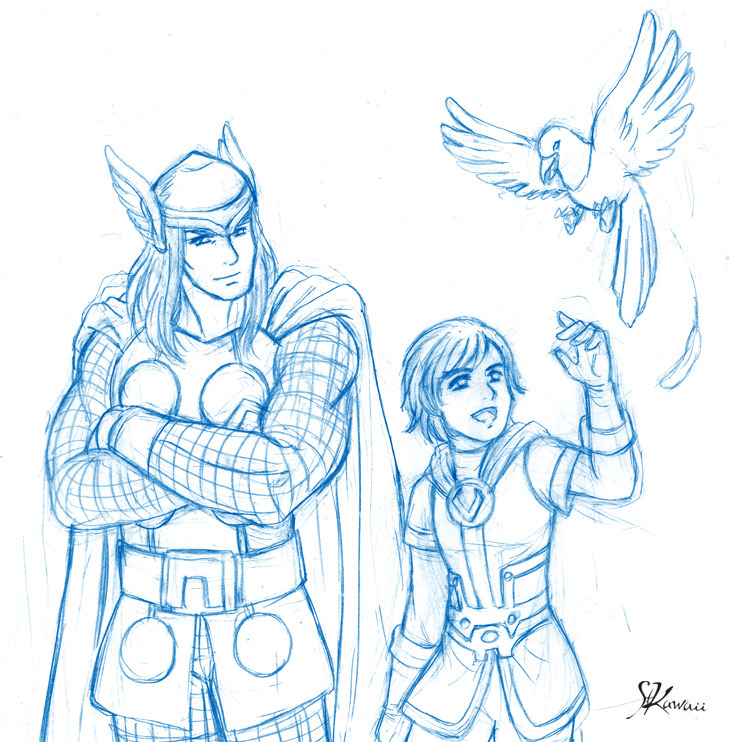 Thor and Ikol added to the previous sketch ^^ (c) MARVEL.