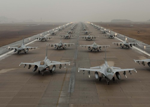 F-16 Elephant Walk in South Korea. Yes. That's a ton of F-16's.