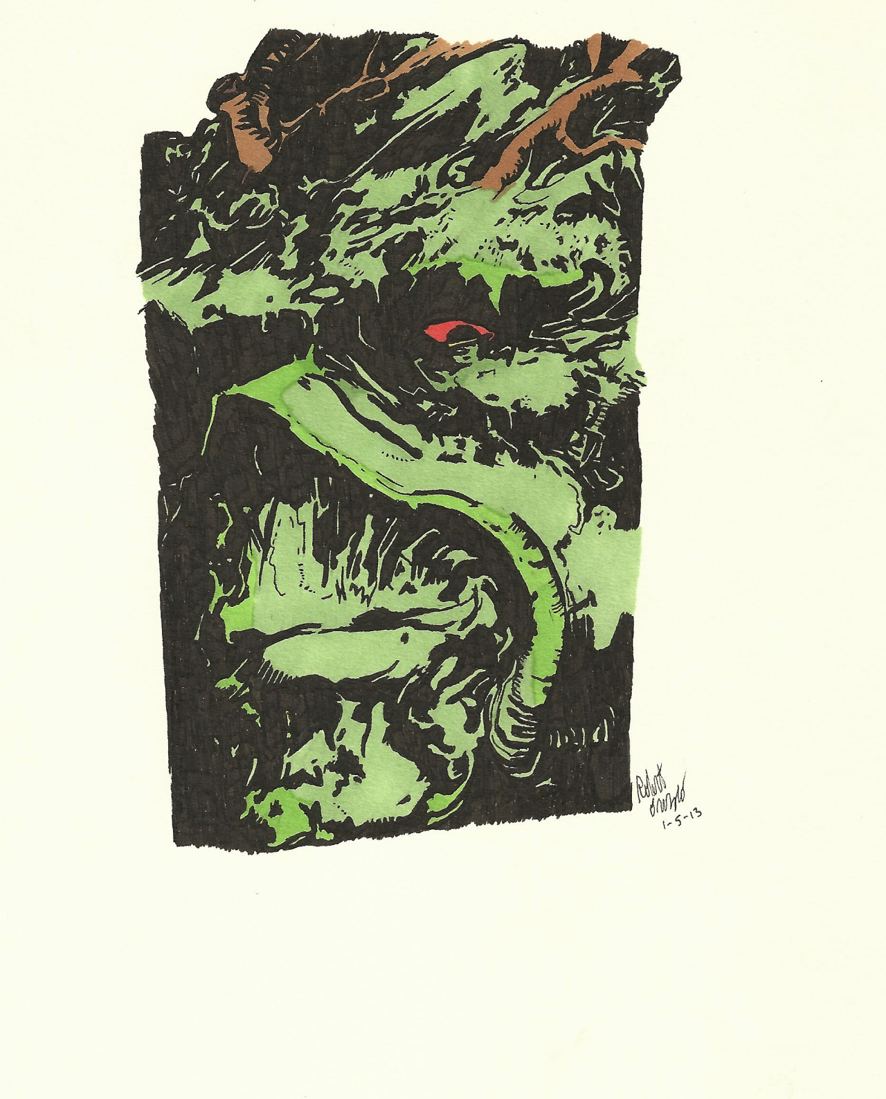A drawing of Swamp Thang.
