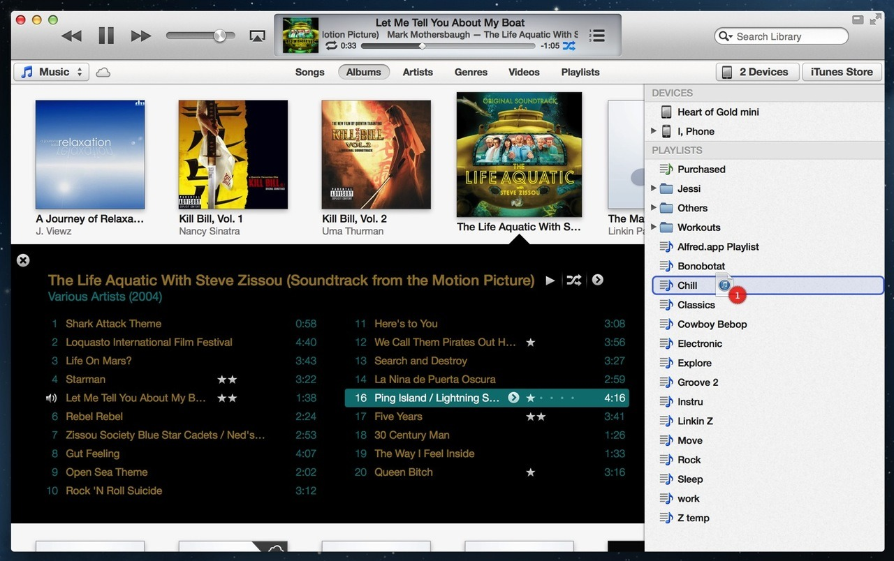 iTunes 11: Drag a song, album in the new album view to show playlists, devices  This makes it easy to stick with the new album view but still use drag-and-drop to organize your media and take some of it with you.