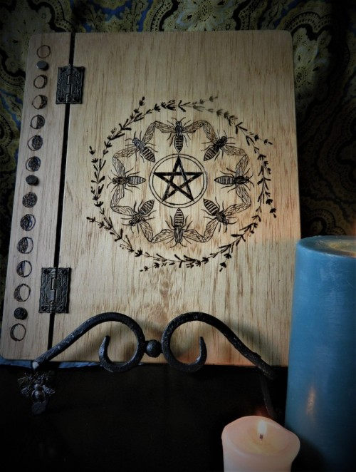 book of shadows grimoire wicca wiccan witch witchcraft the craft bees pentacle lavender wood burning wooden journal wooden book of shadows moon phases candles magick