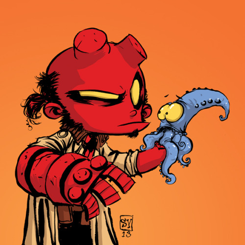 skottieyoung:  Little Hellboy for Heroes Con kids under 12 badge.   D'awwwww….