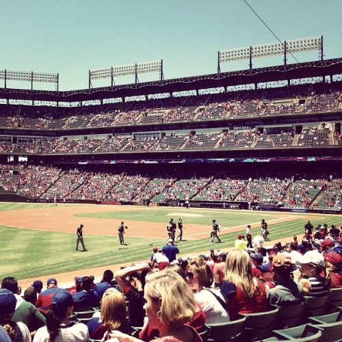 Beautiful day for some @Rangers baseball with the whole @buzzshift team.  (at Rangers Ballpark In Arlington)