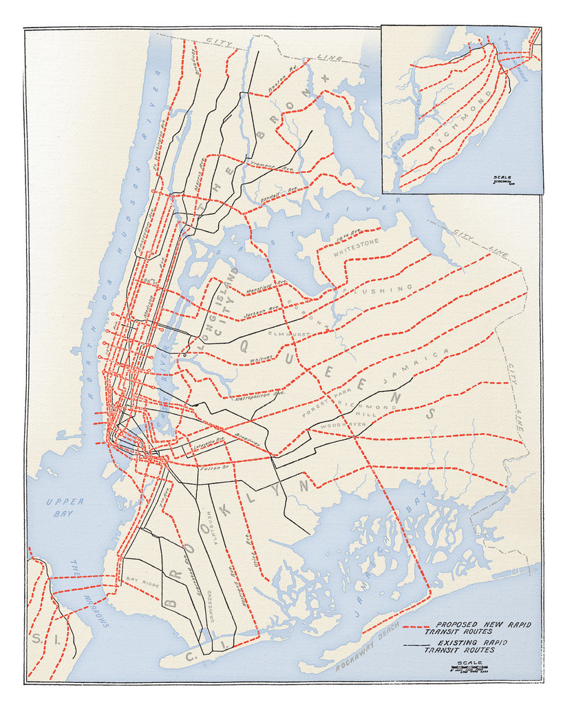 Historical Map: Plans for New York Subway Expansion, 1920 I found out about this awesome map from a tweet from Vanshnookenraggen (otherwise known as Andrew Lynch) just the other day. Originally, I was just going to post the black and white map from the 1920 New York Times article that the original blog post references, but then I realised that the image on the blog linked to a super high resolution PDF of the map. As I found the map in the newspaper article a bit difficult to decipher (lots and lots of intersecting black lines!), I decided to colour it up in Photoshop myself, just to make everything a bit easier to see and understand. Not everything is perfect: the source material looks like it's been (understandably) scanned from an actual copy of the newspaper, so a lot of finer detail has been lost. It looks like some of the proposed lines are actually improvements of the existing track and really should be a thick red line superimposed on a thin black line (look closely, and you can see that some red dashed lines are joined together by a thinner line). However, especially in the tangled web of downtown Manhattan, I really couldn't make things out, so all thicker lines are red. The map itself details the almost outrageous plans for expansion that the New York Subway had way back in 1920 — everything you see in red was planned to be built in the next twenty-five years (by 1945!). Of course, not everything seen here has come to fruition, but you can't accuse the planners of not thinking big! Head on over to Flickr to look at the map in high resolution — and let me know what you think of my handiwork! Prints for sale at Society6 or Zazzle. (Source: Cameron Booth/Flickr via @vanshnook)