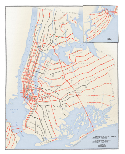 Map showing plans for the expansion of the New York subway system, 1920 (by Cameron Booth)