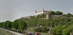 Visit Bratislava Castle via Google Street View  Bratislava Castle in Bratislava Slovakia The name of the town contains the name of a Great Moravian duke who ruled from the present Bratislava castle - Slovak scientist P. J. Šafárik was the first to note that the seemingly German name (Presburg) concealed a Slovak first name – Brecislav. Monumental castle known from the beginning of 10th century, built on former Slavonian fortification from 9th century from Great Moravian Empire above Danube river. Latest reconstruction is from 1956-1968. One of the city signatures. Location: N 48.142276, E 17.100043 Architecture styles seen in castle: romanesque, gothic, renaissance, baroque The castle stands on a hill where the earliest occupation dates back to the Neolithic period (5th millennium BC). The Castle was first time mentioned in Salzburg annals in 907 AD (The newly found Salzburg Chronicles contain the oldest name, recorded in 907 in the following wording: Bellum pessimum fuit ad Brezalauspurc (Unsuccessful battle took place at Brezalauspurc) ). Current appearance was built in 15th century AD (1427). The palace wing was built between 1431-34. Next reconstruction happened between 1552 - 1639 lead by Italian architects. The castle became coronation headquarters during the Tartar incursions from the east. The last big reconstruction was based on works of french, italian and austrian architects - J. N. Jadot, L. N. Pacassi and J. B. Martinelli in 1750-1760. In 1811 the castle was ruined by big fire and for 140 years remained damaged. The reconstruction started in 1953 restored its original appearance. via