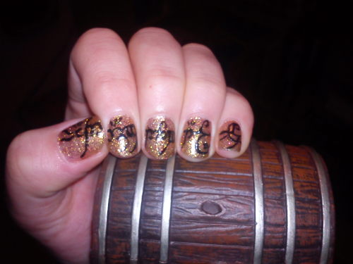 mynailbiting:  One Ring nails! My design for watching The  Hobbit for the first time.