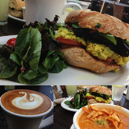 Curry chicken sandwich, tortilla soup, and a strong Spanish latte. ☕ Urth Caffé, Downtown LA (at Urth Caffé)