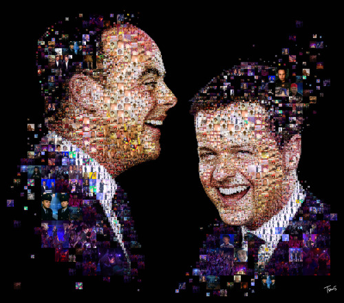 "Ant & Dec's Saturday Night Takeaway (by tsevis) Mosaic portraits of Ant & Dec, the English comedy and TV presenting duo of the popular television show Saturday Night Takeway. This illustration is created for ITV's advertising campaign for the show (see photos bellow). Best viewed large.  Attention: Big file. (11636 x 10240 = 31.7"" x 25.5"" @ 300 ppi) Alternately you can zoom in to the high res (119 megapixels) file with Microsoft ZoomIt. Made with custom developed scripts, hacks and lots of love, using my Mac, Synthetik Studio Artist, the Adobe Creative Suite and good music. All photos used for this portrait are provided by Panorama/Mondadori and might be copyrighted. Please don't use this for any commercial project.  See all my Advertising Illustrations.Many thanks to Miketta Lane and Chris Landy @ Envy and ITV. Some samples from the campaign:"