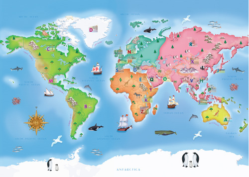 """Around the World"" Illustration for children sticker book commissioned by Milkuat brand of Danone - 2012 I haven't post anything for so loongg…I've been occupied doing the project itself and didn't have a chance to post it until today:"") So here I start with last year project, I really enjoy working with this project, I drew a lot of animals that i always love, especially the baby penguin and drawing the world map gave me dreamy feeling & inspire me to travel & explore the world :D"