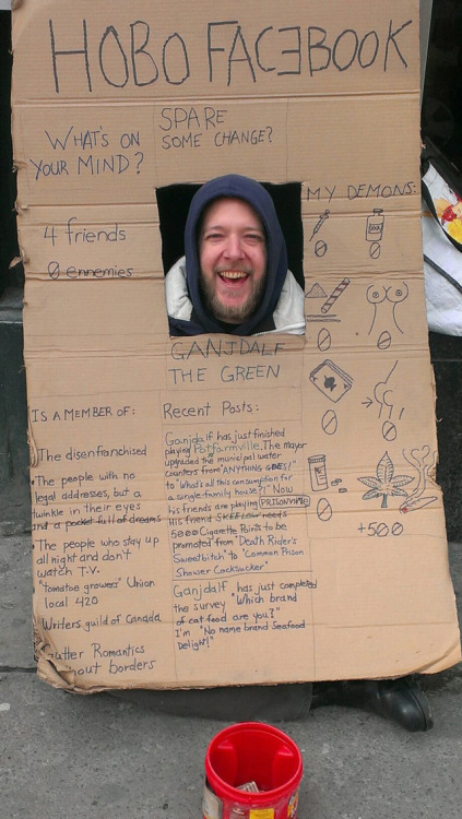 laughingsquid:  Hobo Facebook, A Homeless Man Makes a Profile in Cardboard