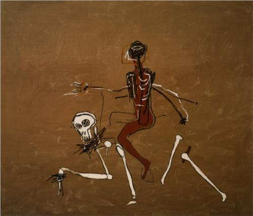Riding with Death (1988), Jean-Michel Basquiat.  One of my very very very favorites of Jean-Michel's. Didn't ever think I'd stand in front of it until today. The background is actually more metallic, lighter, more spectral. Stunning with glowing bones. Go to the Gagosian on 24th to see it. Just. Go.