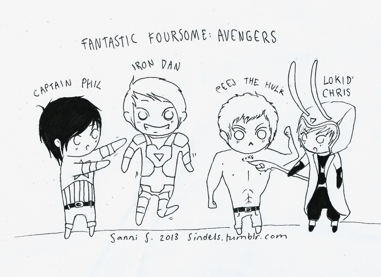 sindels:  Little doodle of Fantastic foursome: The Avengers edition