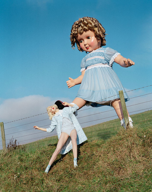 Kicking Jill down a hill - Photo by Tim Walker for Vogue  via madamedevereshideaway: