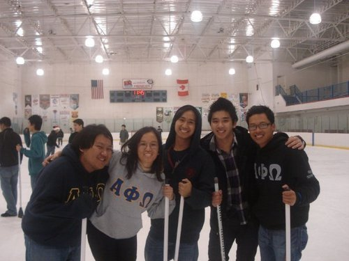 Day 7 - Fun  Me and my brothers from Alpha Phi Omega, the co-ed national community service fraternity, playing broomball at our inter-chapter event in February 2010