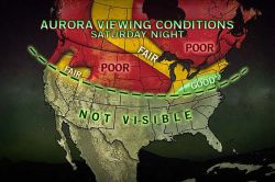 Dazzling Northern Lights Anticipated Saturday Night A solar flare that occurred Thursday morning may create a spectacular display of northern lights Saturday evening. The map above shows the viewing conditions for North America, but the lights will also be visible in Europe, expanding south into Scandinavia, most of the British Isles and Russia, even into northern Germany and Poland.   The southern lights could reach as far north as Tasmania and the coast of Victoria, and should also expand over most of New Zealand's South Island.