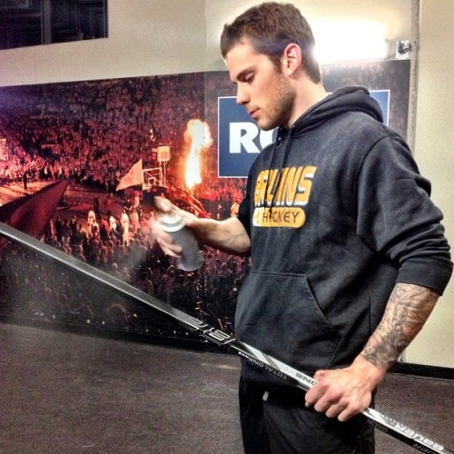 nhlbruins:  Tyler Seguin gives his stick a spray outside the locker room before tonight's game #nhlbruins