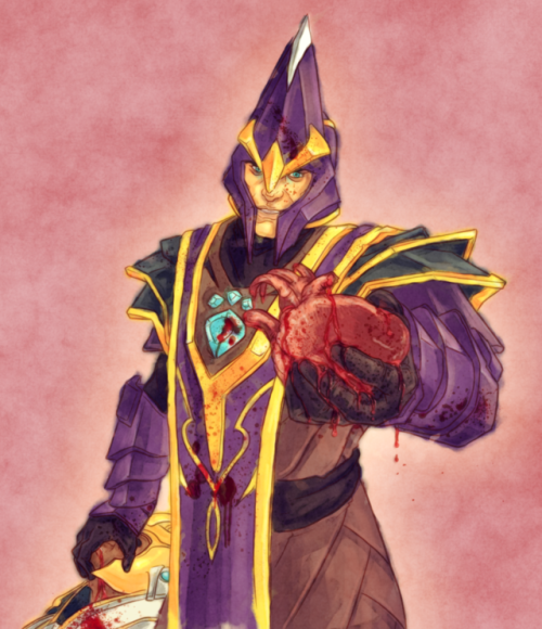 nortromthesilencer: Silencer wishes you a happy Valentine's Day! May you always take the heart of your enemies. (the messy colouring before I fucked around with texture and blooms below the cut. Sue me: I rushed this shit.) Keep reading  Posting here because this is my art blog. DUR. #dota#silencer#heart#gore#chen#nortrom #fuck the fold #blood#armor#fanfic#valentines