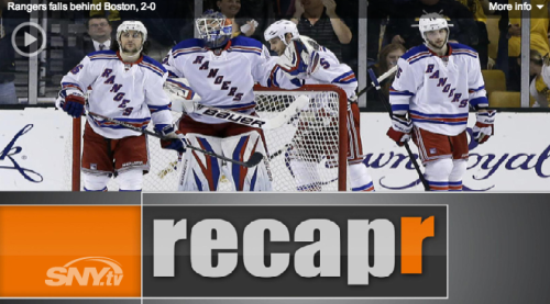SNY.tv recapr compiles the coverage of the Rangers falling behind the Bruins 2 games to none. In less than two minutes, recapr covers the media's reaction to New York's sports stories, pulling together multiple angles and viewpoints – from Twitter to text to talk radio – giving you the whole story in one place.