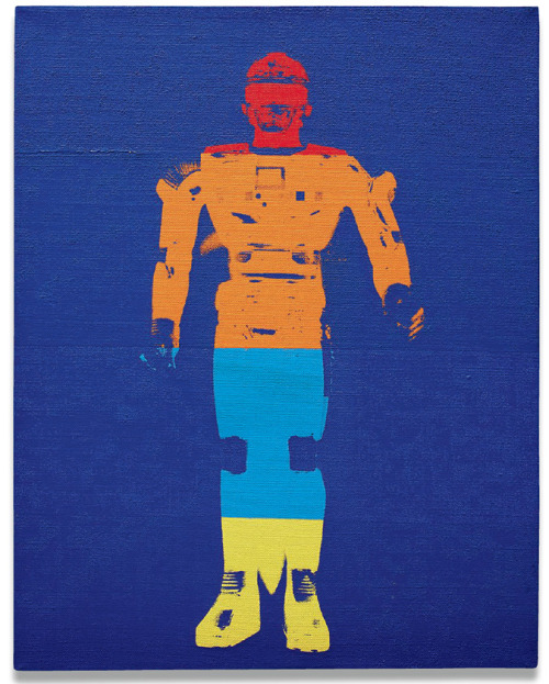 jockohomo:  Andy Warhol, Flash Sharivan Robot, 1983. Synthetic polymer and silkscreen ink on canvas, 14 x 11 in. (35.6 x 27.9 cm.) Stamped twice on the overlap with The Estate of Andy Warhol and The Andy Warhol Foundation for the Visual Arts and numbered PA20.187 along the overlap.