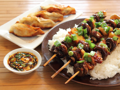 Vegan Mushroom Yakitori skewers and Potstickers with recipe (link)