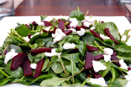 Spinach, Beet and Goats Cheese Salad