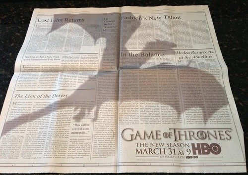 Game of Thrones ad in the New York Times