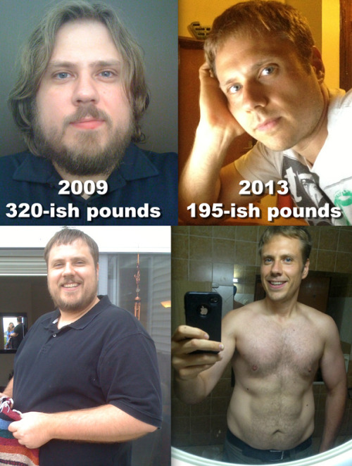 "beforeandafterfatlosspics:  I'm 6 feet tall.  Been eating unprocessed food and working out regularly for the last year and a half… However, these two sets of pics show how things have changed over the last few years… If I could offer any advice, what worked for me was eating 90% unprocessed food.  I allow myself to eat as much fresh fruit and raw/cooked vegetables as I want.  I use very little salt or oil in my cooking, and eat a couple pounds of veggies (raw and cooked) each day, along with fruits.  I eat smoothies (all natural ingredients, nothing from a jar/powder), and eat frozen fruit blended in a blender that makes it taste something along the lines of ice cream. I limit high starch veggies (i.e. potatoes) and eat no rice, no pasta, no bread, almost nothing from a can, etc. I will eat meat, eggs, etc. almost every day, but I do get most of my protein from nuts, seeds, and veggies.  It is a total misconception that only meat has all essential amino acids, even romaine lettuce has all essential amino acids.  I'm not hating on meat, just saying a lot of ""common knowledge"" about nutrition is downright BS, and this ""high protein diet"" thing these days may not be as healthy as just eating mostly fruits/veggies, full of all that great stuff a body needs. Of course, when craving it, I'll eat just about ANYTHING for a meal/day, in ANY amount, but then it's back to what got me here, and I truly enjoy my stirfrys, soups, stews, smoothies, fruit bowls, etc. Once I stopped eating processed food, my palette really changed, and fruit actually tasted sweet, veggies had flavour, etc.  And, best of all (for me, anyway) I NEVER count calories, I NEVER measure food, and I still eat A LOT. I'm never hungry, and my taste buds enjoy the hell out of fresh, from the ground, edible plant stuff.  I never worry about reaching any kind of calorie limit, just eat when I'm hungry, and keep eating til I'm full… Wow, I really do think I have all the answers, don't I?! ;-) For exercise, I gave up my gym membership. Now I mostly just do pushups, chinups (I have a climbing board mounted above my door), explosive burpees, sprints, body weight squats, and some workout rubber bands I bought, and train on days when my body says it's ready (i.e. not still sore from a previous workout). I gotta start working more on flexibility and balance, as I'm still stuck in the ""getting muscles/losing fat"" phase but ultimately health is more than that…  I've been going a bit harder/more focused for about 3 months now with my workouts, and I'm looking forward to another 6-9 months to see where that gets me, really want that ""V"" that shows there's some muscle/fitness going on… I would like to say, for me, for the most part, SCREW THE DIET/FITNESS INDUSTRY!  Eating real food as close to the way it came from the ground as possible works for me, I move in ways that gets my heart pumping and muscles burning, and I trust  my body and its intuition. In my experience, so much of the diet industry is about rules and measures and eating food that is more harmful than health.  So much of the fitness industry is special programs with secret tips that promise an amazing/perfect body when the plain truth is move til you breathe hard and it gets tough and your body will respond and be the best it can be. Yeah, there are exceptions in the diet/fitness arena, and some people do need the experts/rules, but so many people give up their power, responsibility, and knowledge to those that would rather, and let's cut the BS here, THESE COMPANIES WANT TO KEEP YOU IN A SYSTEM THAT ALWAYS KEEPS YOU IN THAT SYSTEM. THEY WANT A PAYING CUSTOMER FOR AS LONG AS POSSIBLE.  CALORIE RESTRICTED DIETS THAT INCLUDE ANY SIGNIFICANT AMOUNT OF LOW NUTRIENT FOOD (PROCESSED FOOD) WILL ALWAYS BE A TRAP, IT WILL NEVER BE EASY, IT IS ALWAYS WALKING A TIGHTROPE, ALWAYS USING THEIR SYSTEMS TO KEEP YOU ON TRACK. I'd like to finish by saying, if you choose a certain lifestyle, you can eat without fretting, workout with convenience and without paying, and just let your body do the rest. No body is ever perfect, but better health is attainable to everyone, everyday. Best of luck my brothers and sisters! Email Submission"