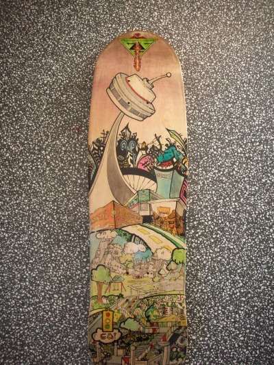 Finished Scott Pilgrim Pool Deck Skateboard  This bad boy is up for sale if anyone is interested.