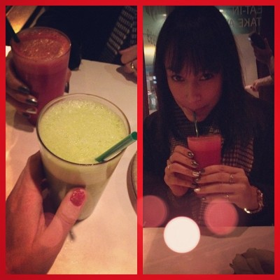 #festive #holiday #red and #green #smoothies with @shameenm83 @ #Fresh #Toronto  (at Fresh on Bloor)