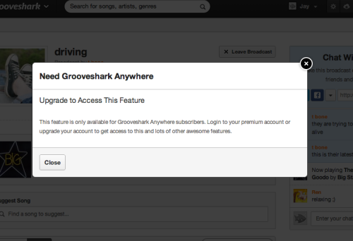 Grooveshark's upgrade notice does not link to anywhere that you can actually upgrade. I think this is only place where they actually tell you there's something you can upgrade to. It doesn't even tell you how to find a place to upgrade.