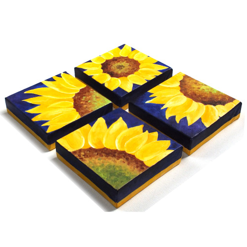 4 Sunflowers on PurpleFour 6x6 Acrylic Canvas PaintingsDecor for home or office © nJoy Art https://www.etsy.com/listing/129743420/home-and-office-decor-4-sunflowers-on?ref=shop_home_active