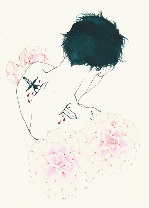 Lotte Hobbs, Camellias. Ink, poster paint, & pencil on paper.