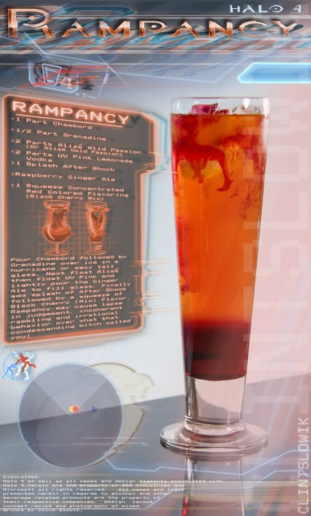 thedrunkenmoogle:  Rampancy (Halo 4 cocktail) Ingredients:1 part Chambord1/2 part Grenadine2 parts Alizé Wild Passion (or Alizé Gold Passion)2 parts UV Pink Lemonade Vodka1 splash After ShockRaspberry Ginger AleBlack Cherry Mio Directions: Pour the Chambord followed by Grenadine over ice in a glass. Next, float the Alizé and then the UV Pink Lemonade vodka on top. Lightly pour the Ginger Ale and fill to the top. Finally, add a squeeze of the Black Cherry Mio flavoring to the drink.  Drink created and photographed by Clint Slowik.  This drink pairs well with the Cortana cocktail.