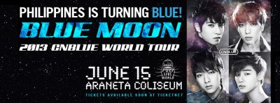 2013 CNBLUE BLUE MOON WORLD TOUR - LIVE IN PHILIPPINES CNBLUE in Manila is really confirmed! On June 15, 2013 @ Araneta Coliseum; can't wait to see this guys. Oh YONG HWA, JONG HYUN, MIN HYUK, JUNG SHIN ♥ ♥ ♥ do you know how long I've waited for this? And now, it was granted. Wish to see this guys sooner :) dreams do come true. And thankful that God hears my prayers. Glad to have him in my life and also CNBLUE ♥ and thanks to my supportive & beloved parents who allow me to attend this special day :) this blessing is so BIG for me. Really! ^__^ CNBLUE Boice in the Philippines, see you soon guys! Let's party and make some noise!  Hi JUNG YONG HWA ♥ when you arrived here in our country, go straightly to the Church so that we can have our OFFICIAL WEDDING ♥ hahaha! LOL xD