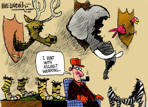 randomness-from-thisoldguy:  Mike Luckovich - hunting with assault weapons