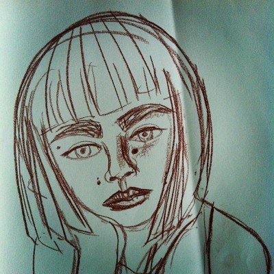#Portrait of a #girl. #Drawing #doodle in reddy-brown #conté. #Illustration #art #random #creation #media