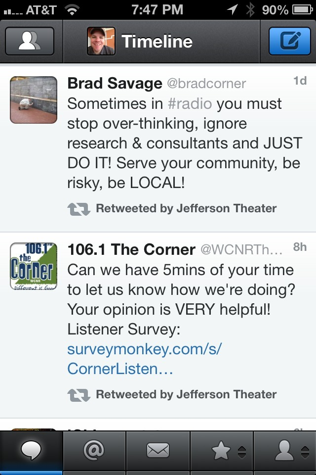 The tweet on top is from the Program Director of the radio station with the tweet on the bottom.