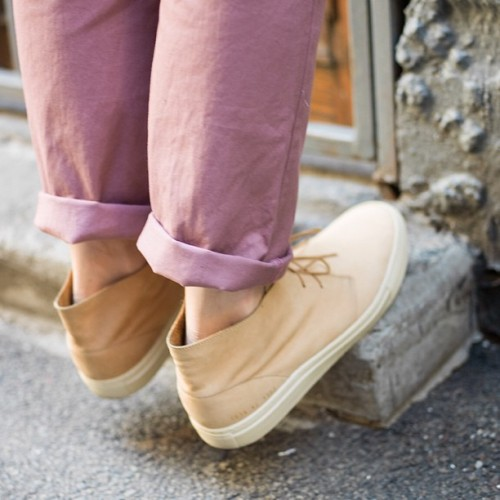freemanssportingclub:  Rose Winchester trousers and our common projects chukkas. (at Freemans)