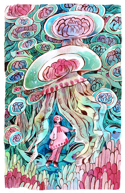 maruti-bitamin:  Jellyfish and sea uribo watercolour + 140lb paper 5th new print for AN