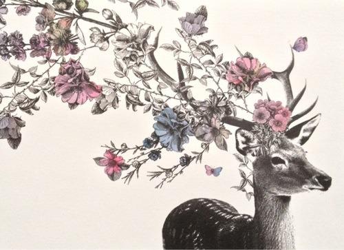 Pretty Flowers Sketch Floral Deer Antlers Hopeandpatchwork