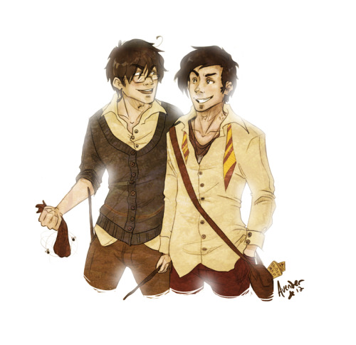 James and Sirius with a festive dungbomb. Well, we can pretend that it's festive. Deck the halls with dungbombs and all that. Happy Christmas!