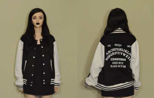 Black Altar Apparel: Ouija Restock. We are currently in the process of getting our all sizes restocks in our popular Ouija Board letterman jackets. If you want one now we do still have some size LARGE remaining in stock, ALL HAIL BLACK ALTAR: http:www/blackaltarapparel.com/