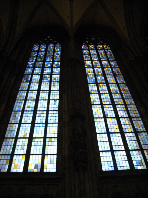 Postwar windows in St. Stephen's Cathedral, in Vienna. Photo ©Stained Glass Forever.