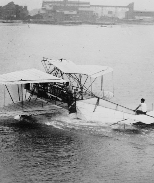 """Photo shows hydroplane designed by Frank Herbert ""Bert"" Harriman, an early aviation pioneer."" (via)"